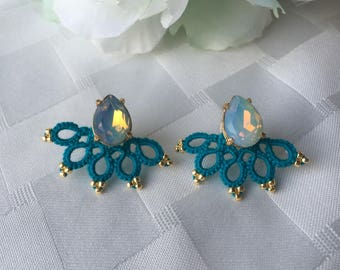 Tatted lace ear jackets with bow studs, light blue ear jackets