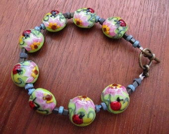 LADYBUG Bracelet:  Murano Glass Grace Lampwork Beaded Bracelet, Handcrafted Jewelry, Boho Chic, Handmade Jewelry