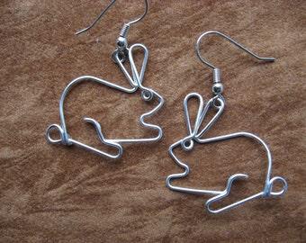 Cute RABBIT earrings wirework nickle-free