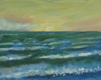 Oil painting of Sea with Waves