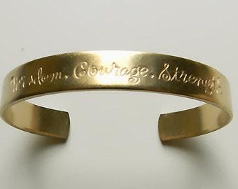 Wisdom Cuff Bracelet, Sentiment Cuff, Etched Cuff, Raw Brass Cuff, Oval Cuff Bracelet, Engraved Cuff, 10mm - 1 pc. (r237)