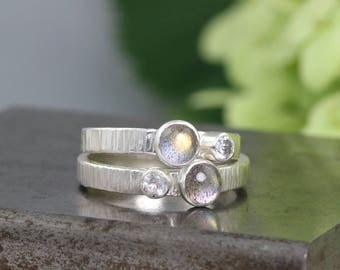 Hammered Coin Edge Two Stone Sterling Silver Ring with Labradorite and White Topaz - Small Silver Dual Stone Gemstone Ring - Made to Order