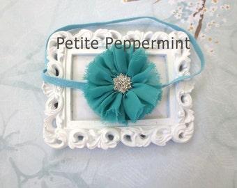 Baby headband, baby girl headband, newborn headband, toddler headband - Turquoise Baby Flower Headband