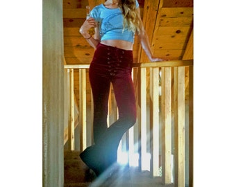 Lace Up Velvet Bells, bell bottoms, flares, stretchy, grommet pants