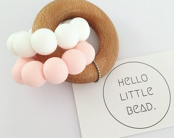 DUO Teether - Pastel Pink and White Teether - Silicone and Beech Teething Ring - Silicone Teether - Baby Teether - Wooden Teether