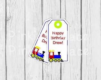 Small Train Gift Tags Birthday Tags Favor Tags Boys Birthday Set of 12 - T633
