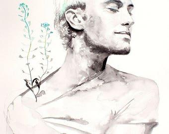 Portrait with flowers. Jude Law. Blue flowers. Watercolor art print. Wall art, wall decor, digital print.