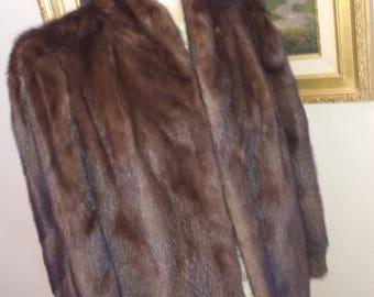 Ladies Fur Coat. Mahogany Fur Stroller, Elegant Mink Coat