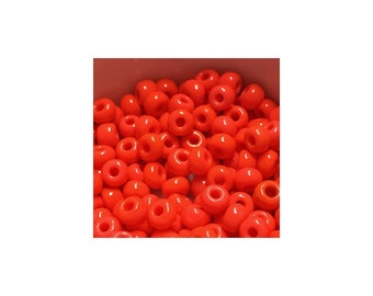 6/0 Opaque Coral Seed Bead 10 gm