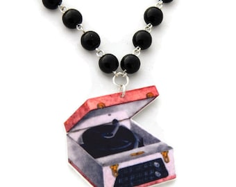 Retro Record Player and Black Pearls Necklace