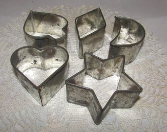 FIVE - Vintage Deep Metal Cookie Cutters, Shapes - Star, Heart, Diamond, Spade and Moon