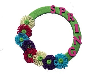 Spring flower yarn wreath: Yellow, Pink, Blue, Purple, Green seasonal wreath