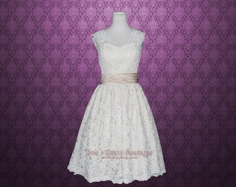 Retro 50s Vintage Style Tea Length Lace Wedding Dress with Straps | Carly Y12106