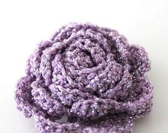 2 pcs Lilac Glitter Crochet Flower Appliques - 3D Ruffled Rose for Brooch