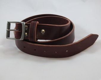 """Burgundy Belt with removable Rectangular buckle, 1.5"""" wide Latigo leather in your choice of 3 buckle finishes and 3 hardware finishes."""