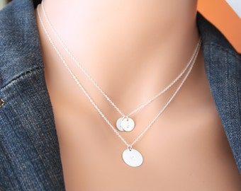 Personalized Double Layer Disk Necklaces, Customized Initial Disk- All Sterling Silver, engraved disk, Valentine, birthday, mothers day gift