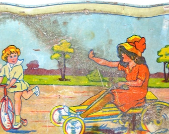 1930's Tin Toy Tea Tray, Art Deco children on bikes, go cart. Made in Germany.