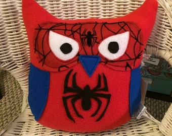 Spider-man Owl Plushie- Inspired by the Spider-man- Red and Blue Spider-man Owl