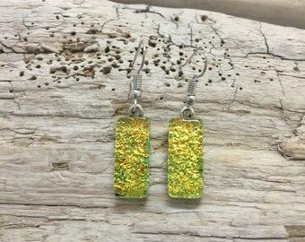 jewelry, dichroic glass, glass earrings, glass, earrings, handmade fused glass, fused earrings, dangle earrings, Dichroic Glass earrings