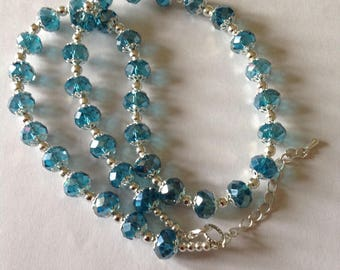 Turquoise crystal glass necklace crystal necklace beaded necklace handmade necklace fashion necklace turquoise necklace turquoise crystal