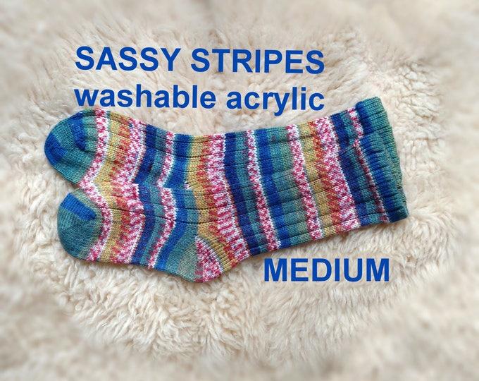 Sassy Stripes Crayon Knit Socks --- Imported Acrylic Yarn from Turkey --- NON-ALLERGENIC -- MEDIUM