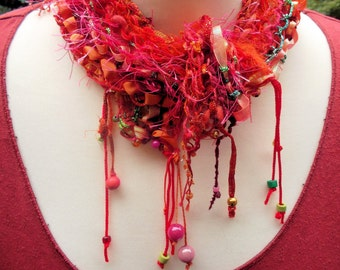 Scarf handknitted knit collar red pink fabric jewelry warming wool collar knitted collar