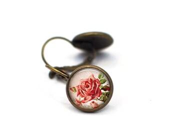 Red Rose Earrings, Gift for Her, Gift for Women, Stud Earrings, Flower Earrings, Rose Earrings, Chic Earrings,  Dangle Drop Earrings,