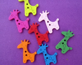 Cute buttons, Craft buttons Baby Nursery Wooden Giraffe Buttons Colorful Painted Wood Scrapbook Sew Sewing Headband Decoration Embellishment