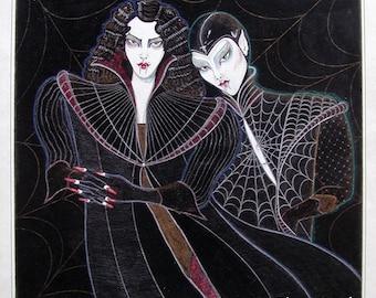 Original Vampire Art by Zhenne Wood/ India Ink, Prismacolor & Gouache on Bristol Board/ Surreal Vampire Fashion/ Vintage Original Fine Art