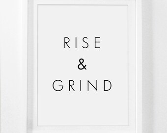 Rise And Grind, Rise And Grind Sign, Rise And Grind Print, Rise And Grind Wall Art, Workout Printable, Workout Print, Gym Wall Art, Gym Art