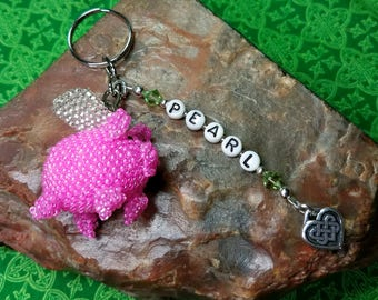Personalized IRISH Celtic Heart - When Pigs Fly - Pink Pig KEY RING