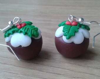 Christmas pudding  earrings  handmade fimo earrings, polymer clay