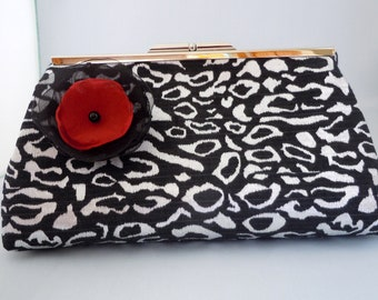 Black Silver Leopard Print Clutch Purse for Weddings Proms Evenings and Special Occasions