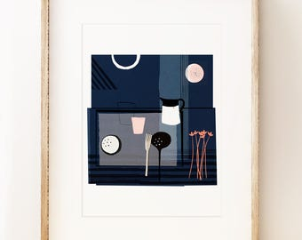 Blue modern still life art print, gallery wall art, contemporary art print