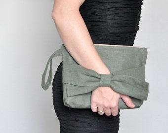 Linen Wristlet. Bow Clutch. Olive Green Evening Clutch. Luxurious Evening Wristlet. Wedding Clutch. Bridal Clutch