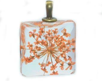 dried flower pendant orange glass 20x20mm with bail
