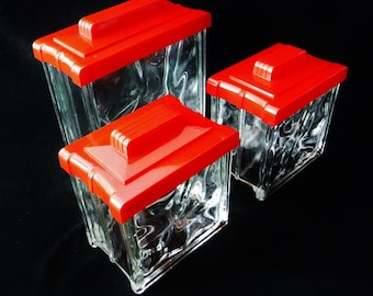 Glass Canister Set/Napco Glass Block Canisters/Retro Kitchen Storage/Vue-tility/Art Deco Lids/Clear/Red/1 Lg/2 Med/In Box/40's Vintage