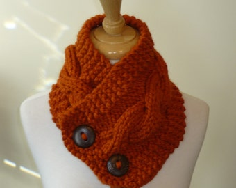 """Knit Neck Warmer, Cable Knit Scarf,  Chunky Warm Winter Scarf in Pumpkin 6"""" x 25"""" - Coconut Shell Buttons Ready to Ship - Gift for Her"""