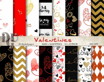Valentines digital paper - Red Hearts Digital Paper Pack, scrapbook papers, 16 papers LOVE digital background, instant download paper #132
