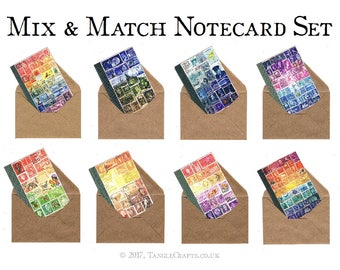 Postage Stamps Notecard Box Set   Stamp Art Print, Boxed Blank Cards   A6 Mail Art Stationery Set, any occasion cards for snail mail penpal