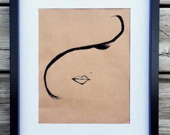 La mèche, black frame, decor, acrylic painting, original poster art