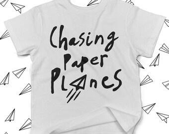 Chasing Paper Planes - Kids Tshirt - Kids Shirts - Toddler Shirts - Kids Handwriting - Kids Tshirts With Sayings -  Kids Clothing - Kid Tee