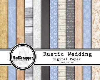 Digital Paper Romantic Rustic Wedding 12 Patterns 4 Solids 12 x 12 Instant Download