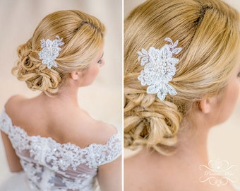 Lace Bridal Hair Comb, Wedding Headpiece Fascinator with Beaded Lace in Ivory with Pearls