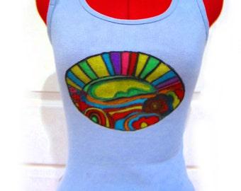 Tank Top, Hand Painted Art OnT-Shirts, Women's T-Shirts, Women's Tank Top, Funky Handpainted T-Shirt, Boho T-Shirt, 100pct Cotton