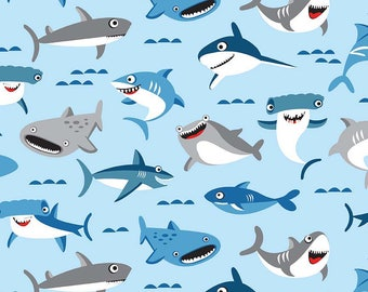 Sharktown Main Blue - Riley Blake Designs - Sharks Fish Ocean Water - Quilting Cotton Fabric - choose your cut