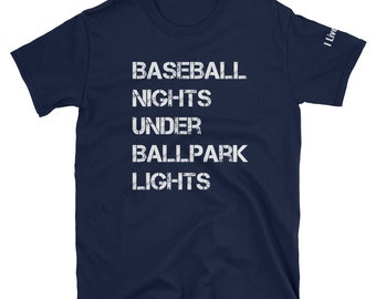 Baseball Nights Under Ballpark Lights Shirt Distressed Baseball T Shirt Vintage Clothing Top Baseball Mom Shirts Baseball Dad Unisex T-Shirt