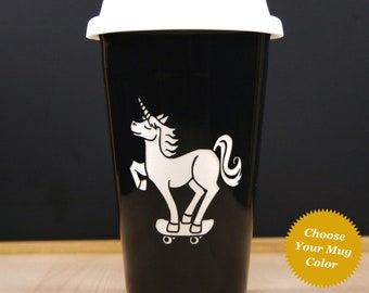 Unicorn on a Skateboard Travel Mug