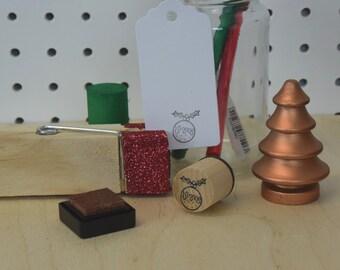 Christmas Pudding Stamp - Plum Pudding - Christmas Stamp - Xmas rubber stamp -  Holidays - Gift wrapping stamp