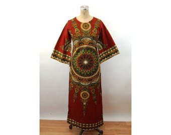 1970s caftan African dashiki style cotton boho ethnic by Waltz  Made in Kenya Size S/M